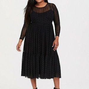 Torrid Black Mesh Long Sleeve Polka Dot Dress
